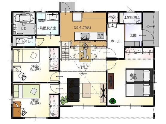高松市十川西町の家の間取り図