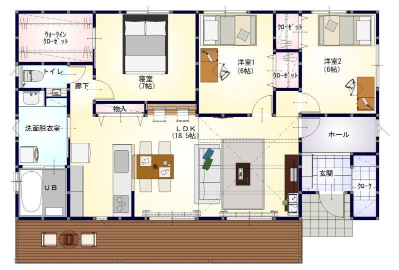 高松市香川町の平屋の家の間取り