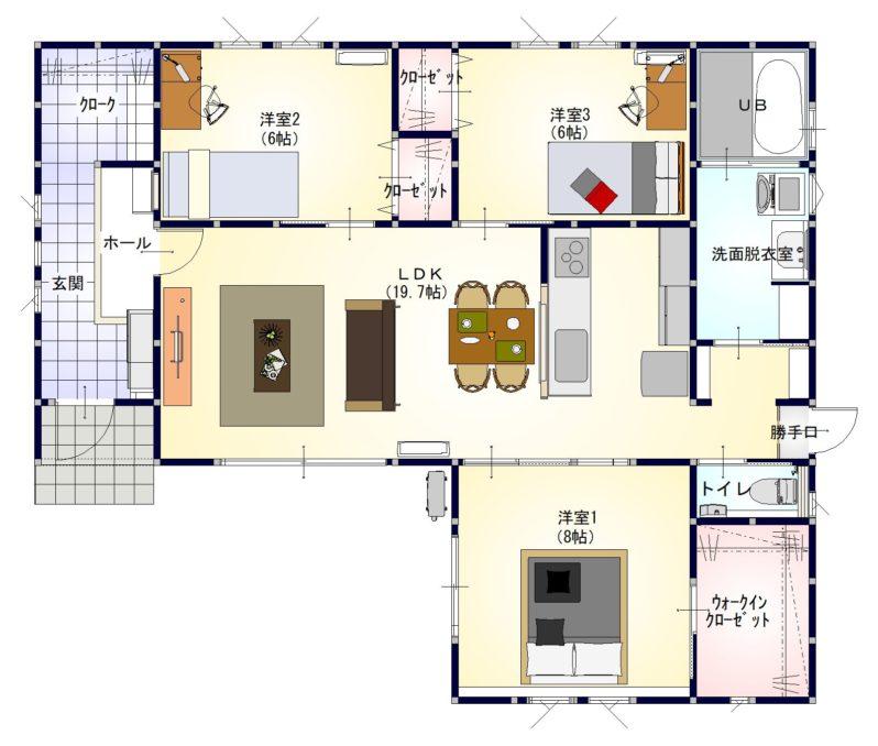 アイタウン六条Ⅱ3号地1階 平面図